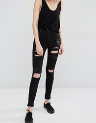 Dr. Denim Dr Zoe Sky High Waist Skinny Jeans With Rips Black
