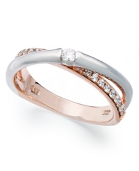 Macy's Sterling Silver And 14K Rose Gold Ring Cubic Zirconia Overlap Ring 1 6 Ct. T.W.