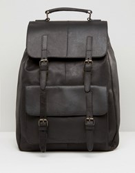 Asos Leather Backpack In Black With Front Pockets Black