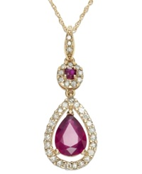 Macy's 14K Rose Gold Necklace Ruby 1 1 3 Ct. T.W. And Diamond 1 3 Ct. T.W. Pear Drop Pendant