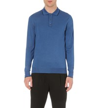 Salvatore Ferragamo Long Sleeve Wool And Silk Blend Polo Shirt Bright Blue
