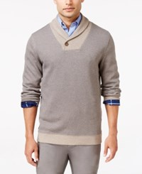 Tasso Elba Men's Shawl Collar Pullover Only At Macy's Brown Sugar Heather