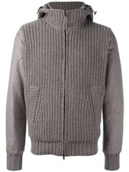 Herno Zipped Hooded Cardigan Nude Neutrals