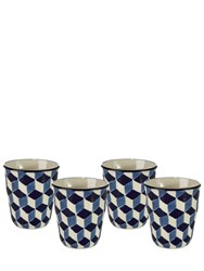 Pols Potten Set Of 4 Painted Bone China Glasses