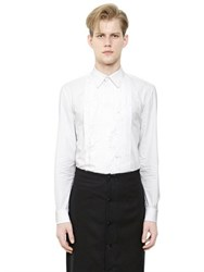 Givenchy Cotton Poplin Shirt W Frayed Plastron