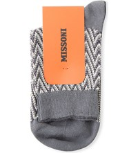 Missoni Zig Zag Patterned Ankle Socks Grey 0002