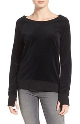 Pam And Gela Women's Back Laced Velour Sweatshirt