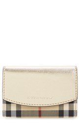 Women's Burberry 'Chesham Horseferry Check' Metallic Leather Wallet