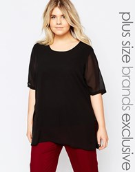 Junarose Short Sleeve Top With Sheer Overlay Black Cream