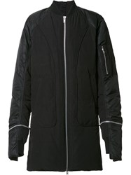 Byungmun Seo Zipped Long Bomber Jacket Black
