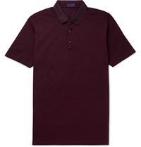 Lanvin Grosgrain Trimmed Cotton Pique Polo Shirt Burgundy