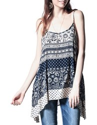 California Moonrise Mixed Pattern Asymmetrical Tank Navy Multi