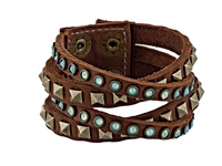 Leather Rock B340 Bark Bracelet Brown