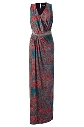 Saloni Multi Colored Beaded Maxi Dress Red