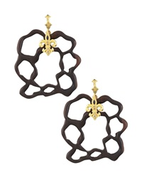 Armenta Diamond And Sapphire Fleur De Lis Wooden Earrings