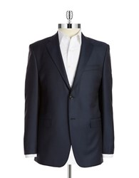 Lauren Silver Two Button Wool Blazer Navy
