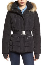 French Connection Women's Belted Quilted Jacket With Faux Fur Trim Black