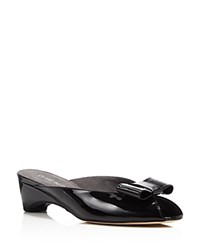 Stuart Weitzman Candy Bow Mid Heel Slide Sandals Black