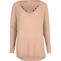 River Island Womens Light Pink Knit Top With Lace Detail