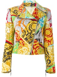 Versace Vintage Mixed Print Biker Jacket Multicolour