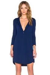 Velvet By Graham And Spencer Vavaya Cotton Slub Button Up 3 4 Sleeve Shirt Dress Blue