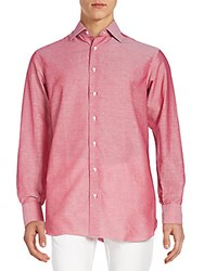 Brioni Regular Fit Woven Cotton And Linen Sportshirt Red