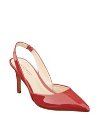 Nine West Rollover Faux Patent Leather Slingback Pumps Red