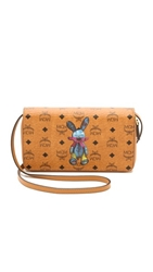 Mcm Rabbit Print Cross Body Wallet Cognac
