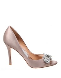 Badgley Mischka Buzz Satin Peep Toe Pumps Taupe