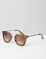 Jeepers Peepers Tortoiseshell Sunglasses With Brow Bar Tort Brown