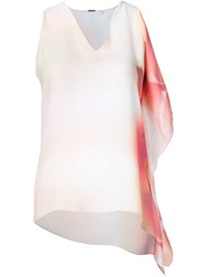 Elie Tahari Ruffle Detail Sleeveless Top Pink And Purple