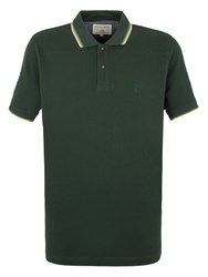 Racing Green Clement Tipped Pique Polo Dark Green