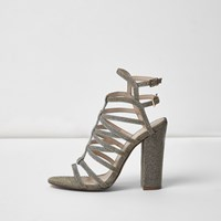 River Island Womens Metallic Caged Heels