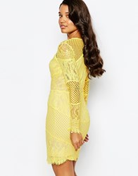 Forever Unique Lace Insert Dress With Pannels Yellow