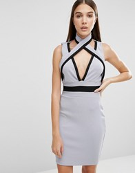 Daisy Street Premium Bandage Halter Neck Dress Dusty Lilac Purple