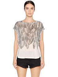 Diesel Feathers Printed Viscose Jersey T Shirt