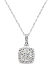 Macy's Diamond Vintage Inspired Pendant Necklace 1 2 Ct. T.W. In 14K White Gold