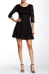 Lush 3 4 Sleeve Lace Dress Black