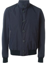 Herno High Neck Button Fastening Bomber Blue
