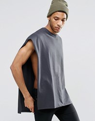 Asos Oversized Cape T Shirt In Heavyweight Fabric With Raw Edges In Washed Black Washed Black Grey