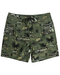 Carhartt Khaki Float Printed Long Swim Shorts