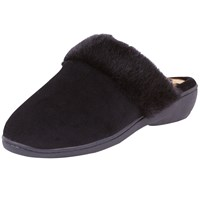 Totes Heeled Pillowstop Mule Slippers Black Panther