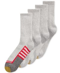 Gold Toe Men's Socks Athletic Cushion Crew 4 Pack Grey