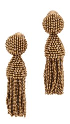 Oscar De La Renta Short Beaded Tassel Earrings Fawn