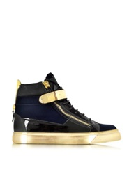 Giuseppe Zanotti Coby Navy Velvet And Patent Leather High Top Sneaker Navy Blue
