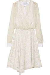 Prabal Gurung Metallic Wrap Effect Embroidered Chiffon Dress White