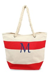 Cathy's Concepts Monogram Stripe Canvas Tote Red Red M