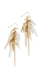Alexis Bittar Crescent Drop Wire Tassel Earrings Gold Clear