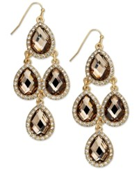 Inc International Concepts Gold Tone Jet Black Teardrop Chandelier Fish Hook Earrings Only At Macy's Brown