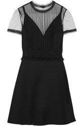 Valentino Tulle Panelled Wool And Silk Blend Crepe Mini Dress Black